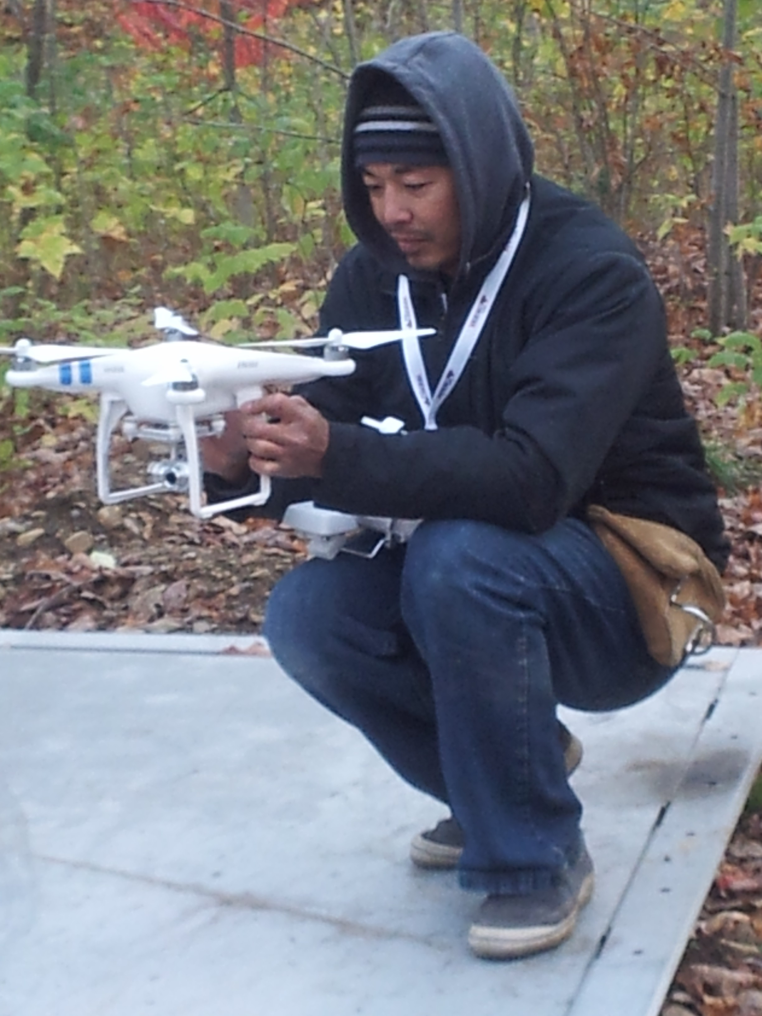 Hien setting up his Drone for Arial construction video capture.