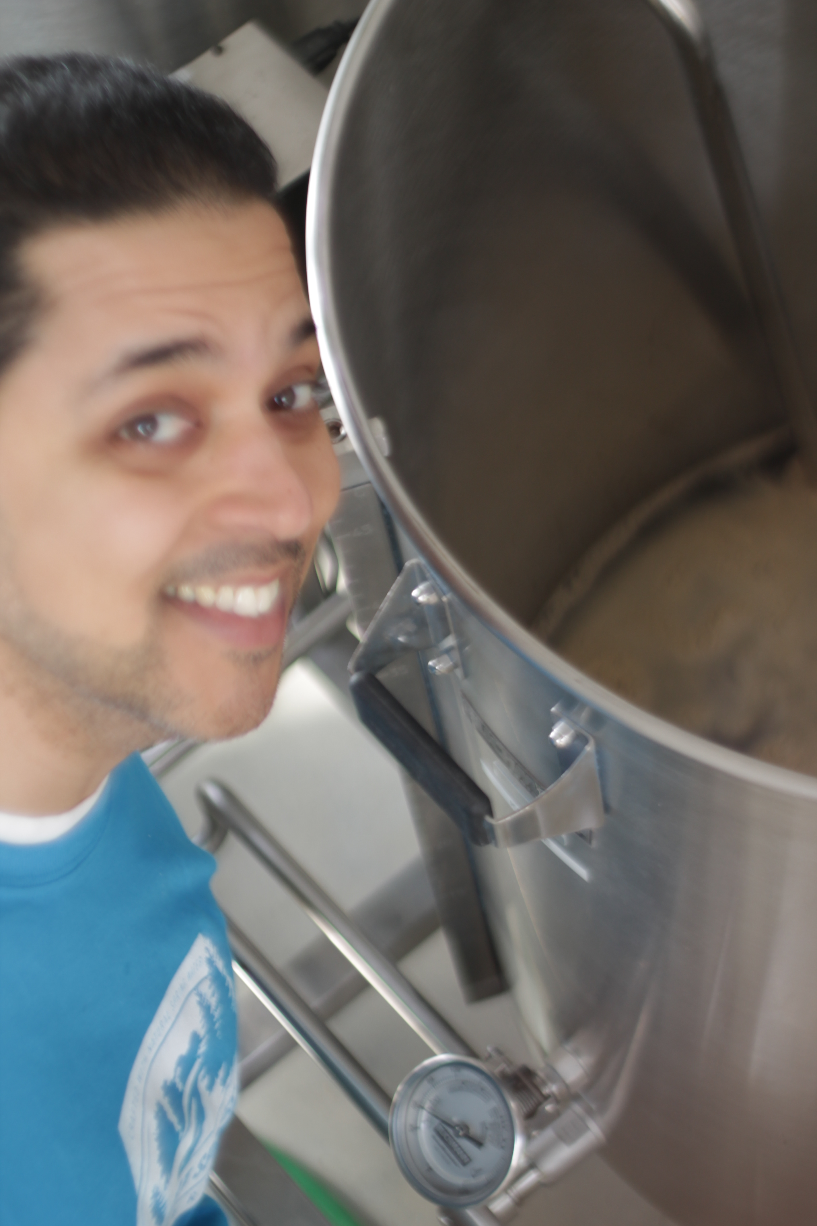 Eduardo with our 1st batch of beer.  Maple Porter