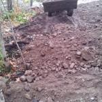 Burying drain pipes