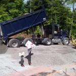 Evans dumping more gravel